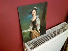 Fine 20th c English School Oil on Panel Elegant Young