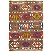19th Century Colorful Antique Caucasian Kilim