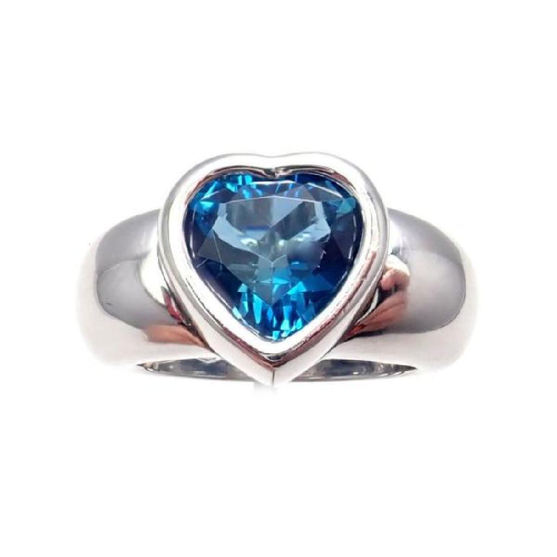 Rare! Piaget 18k White Gold London Blue Topaz Heart