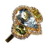 Glittering Dinner Ring of Aquamarine, Peridot, and