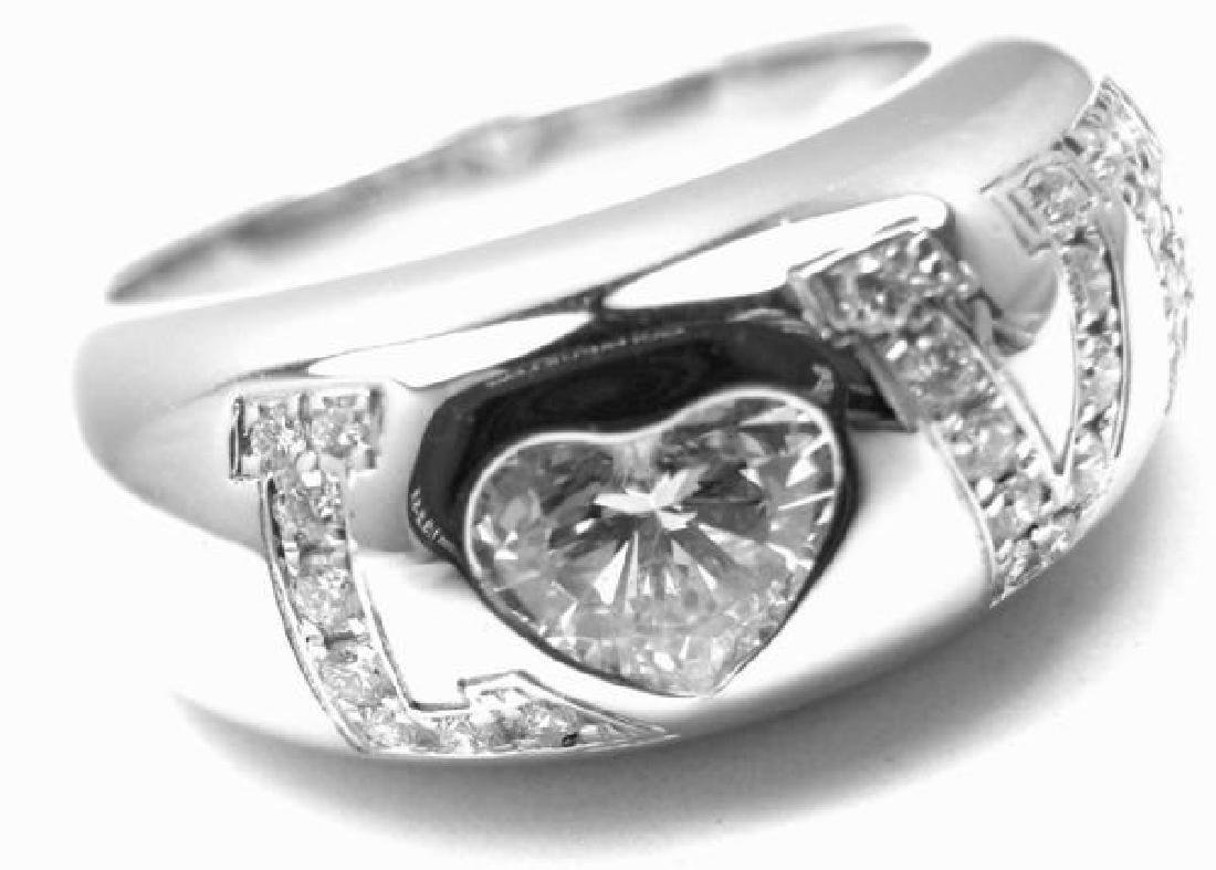 Authentic! Chopard 18K White Gold Heart Shape .53ct