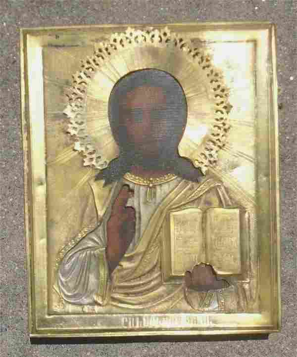 fine antique Russian icon Jesus Christ blessing gold