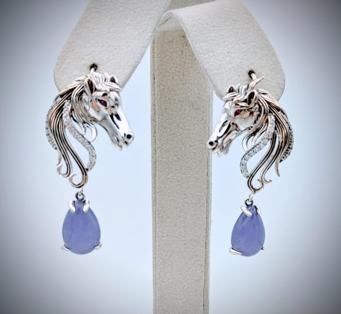 Sterling Silver Horse Designed Earrings w Violet Jade,