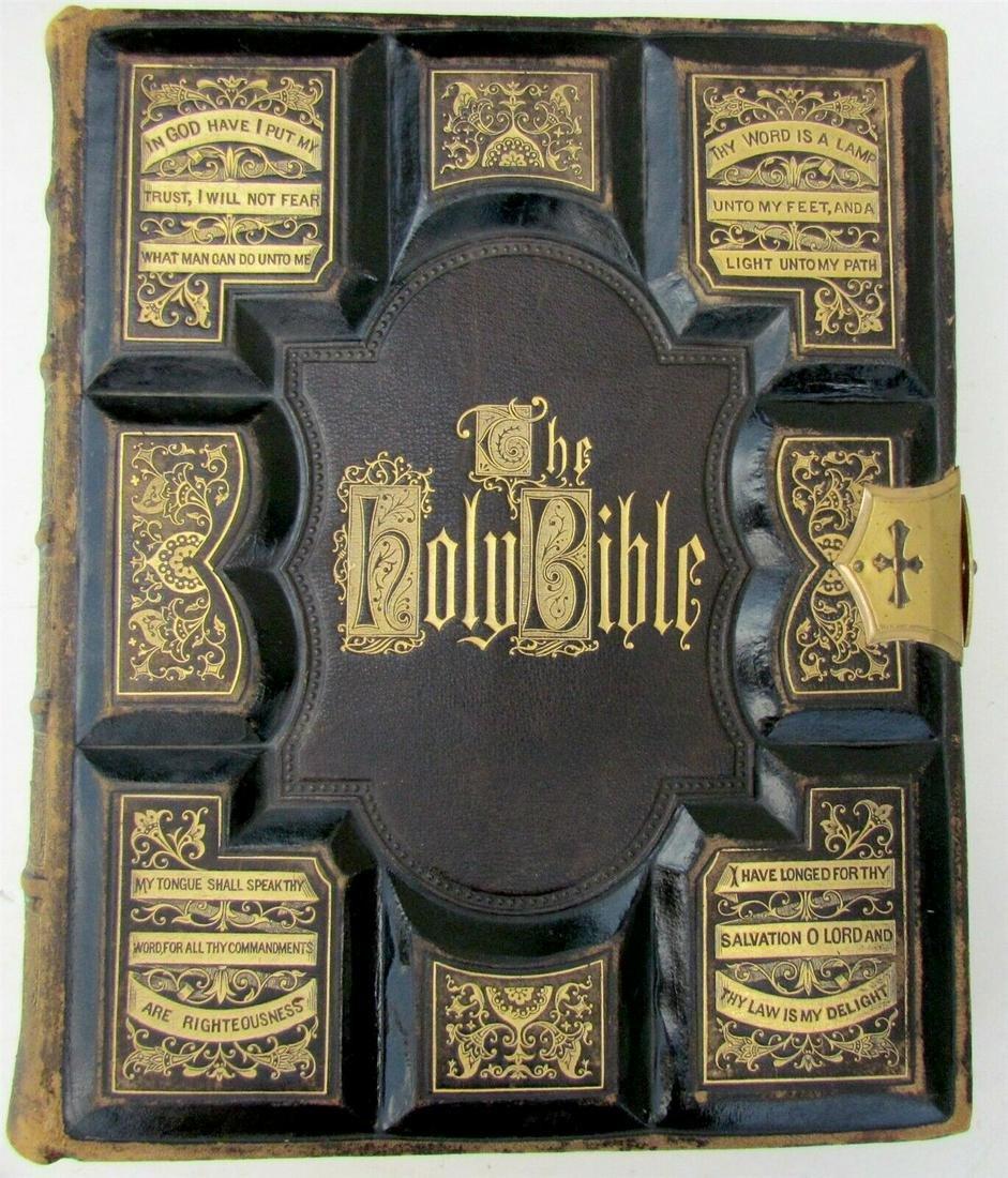 1871 BIBLE antique MASSIVE FOLIO ILLUSTRATED AMERICANA