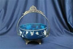 VICTORIAN RITZ BLUE CAMEO WEBB BRIDES BASKET WEBSTER