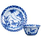 Kangxi Chinese blue and white porcelain matching teacup