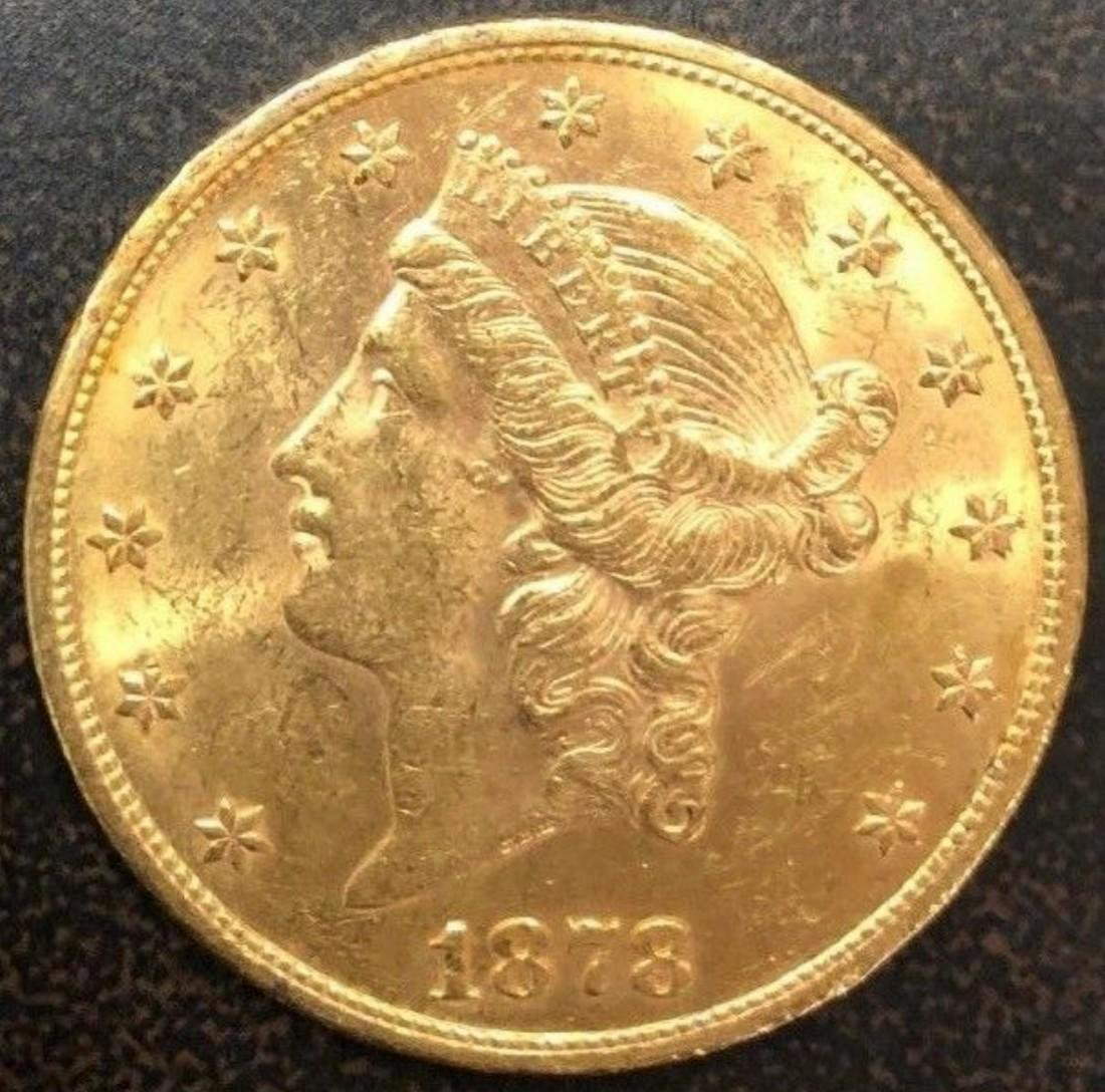 1878 US Liberty Head $20 Double Eagle Gold Dollar BU++