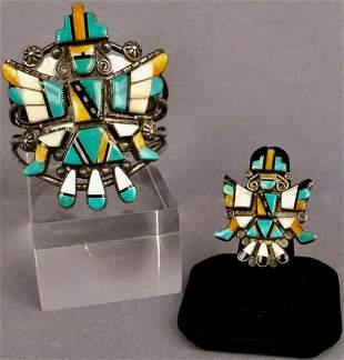 Matching Knifewing Bracelet And Ring Set