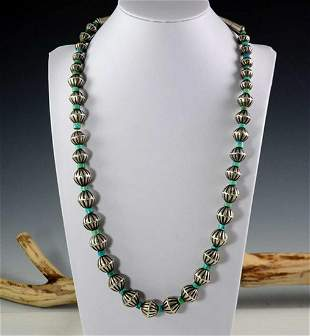 Vintage Silver Turquoise Bead Necklace