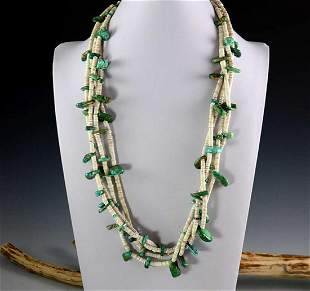 Vintage Shell Turquoise Necklace