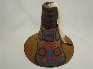 Northwest Coast Indian Painted Hat With 4 Potlatch