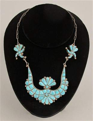 Number 8 Turquoise & Silver Choker Necklace