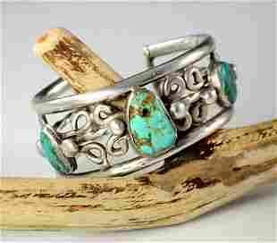 Antique Pueblo Silver Turquoise Bracelet