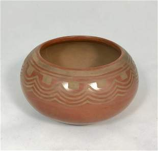 Buff On Red Bowl By Maria And Julian, San Ildefonso