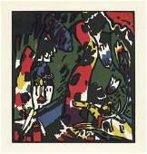 "Wassily Kandinsky ""The Archer"" original color woodcut"