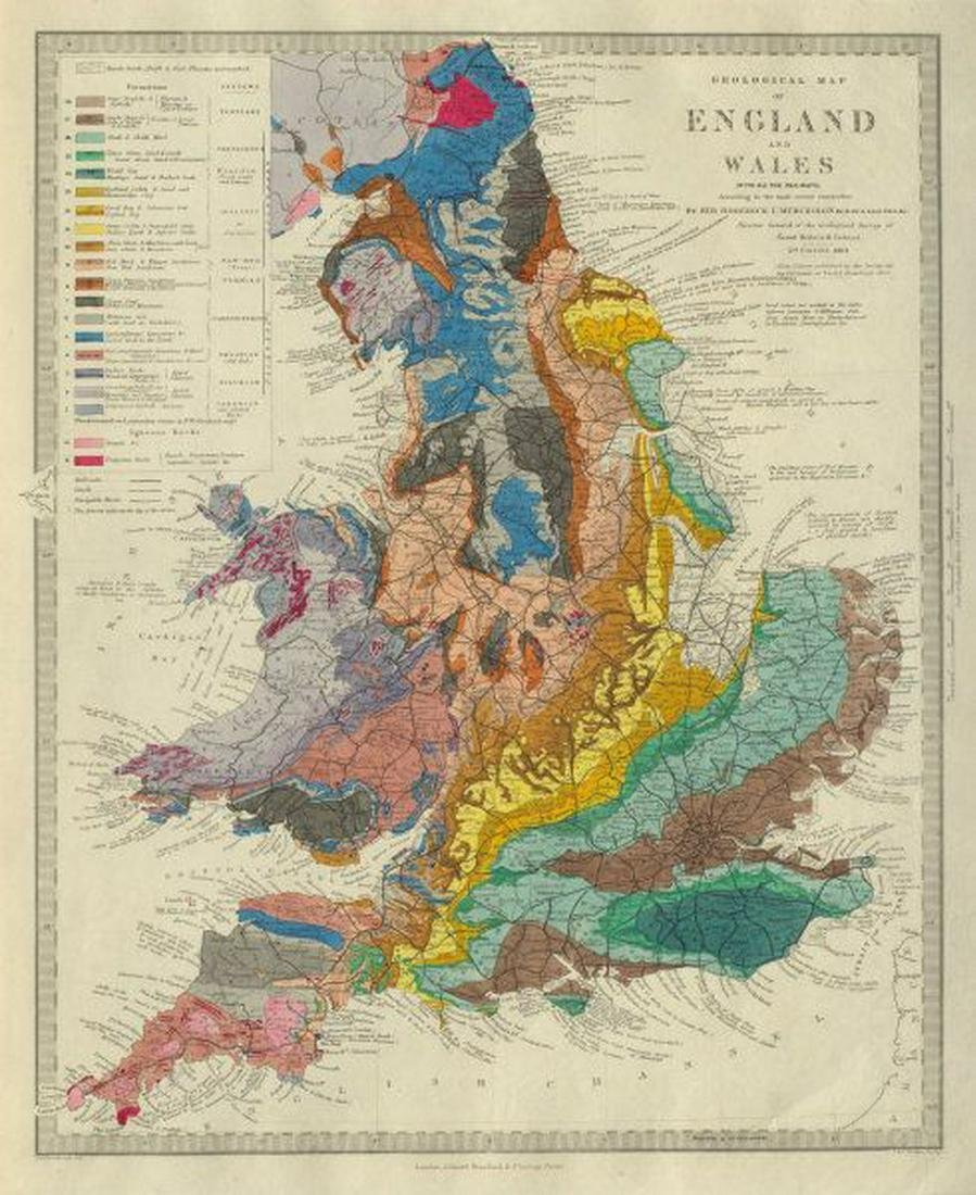 Map Of England To Colour.England Wales Geological Map Original Hand Colour