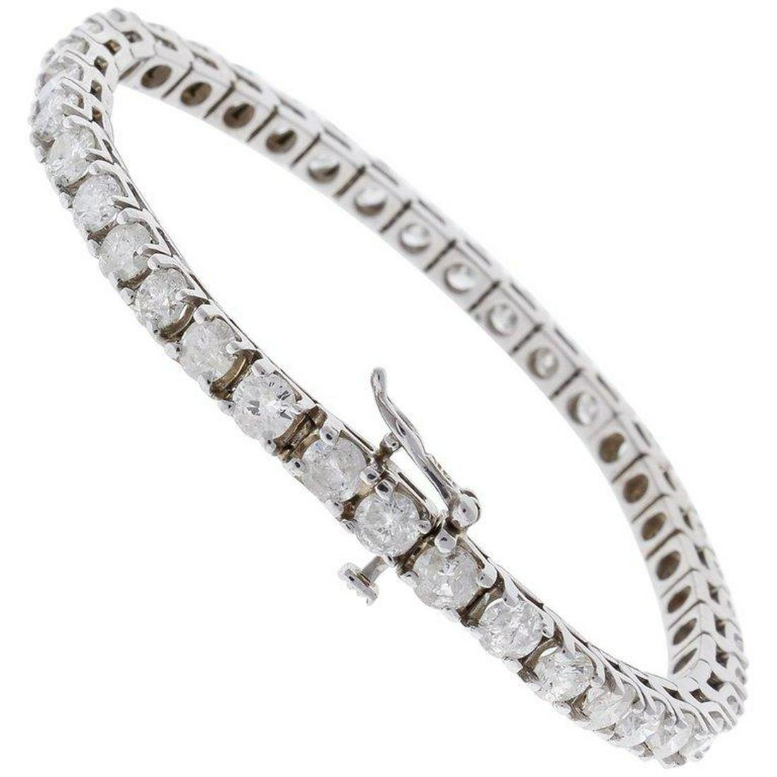 4.38 Carat Total Round Diamond 4 Prong Tennis Bracelet