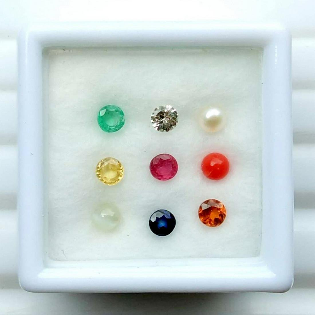 Calibrate 3 mm Round Natural Navratna 9 Gemstones Set