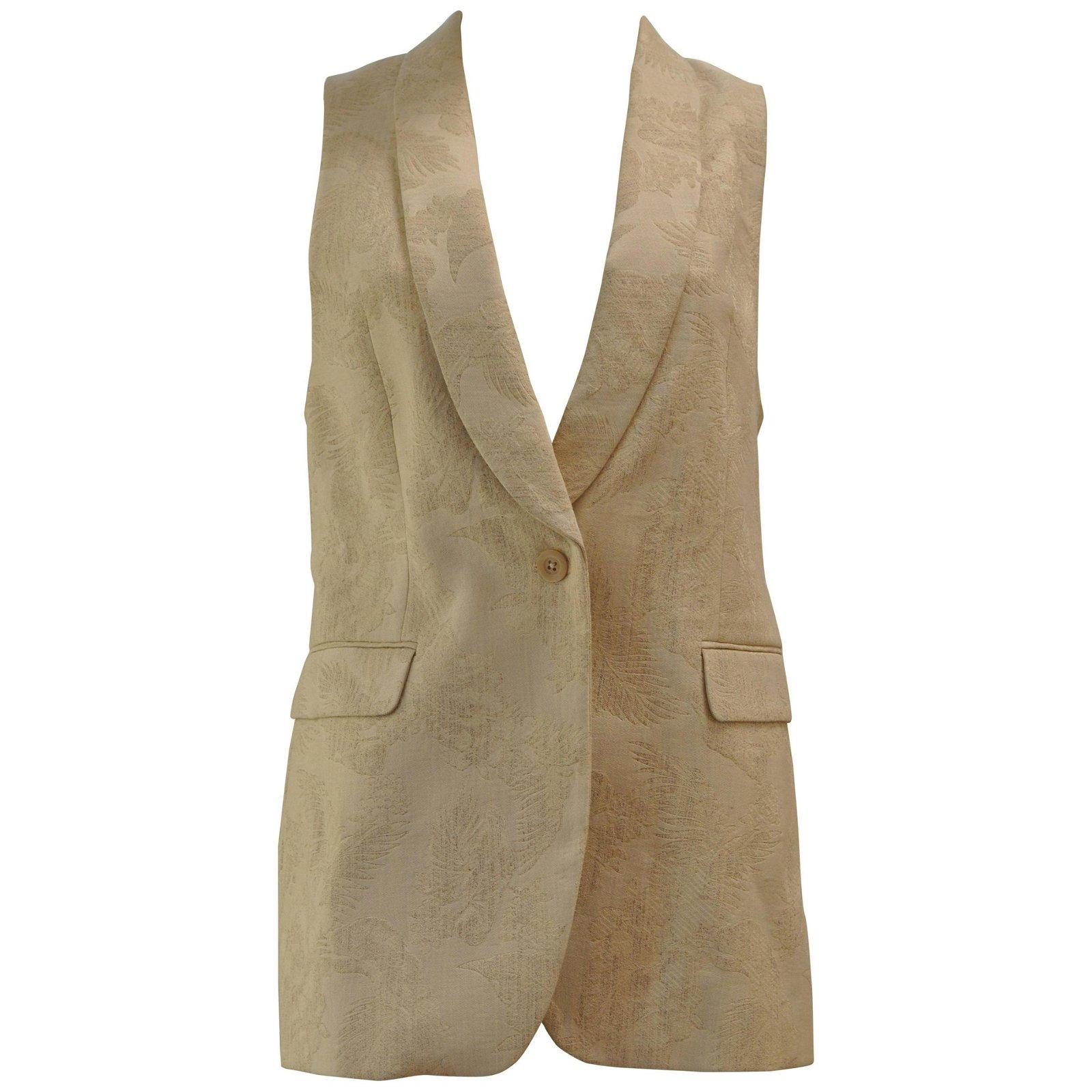 Dries Van Noten Cream Jacquard Vest Size 40