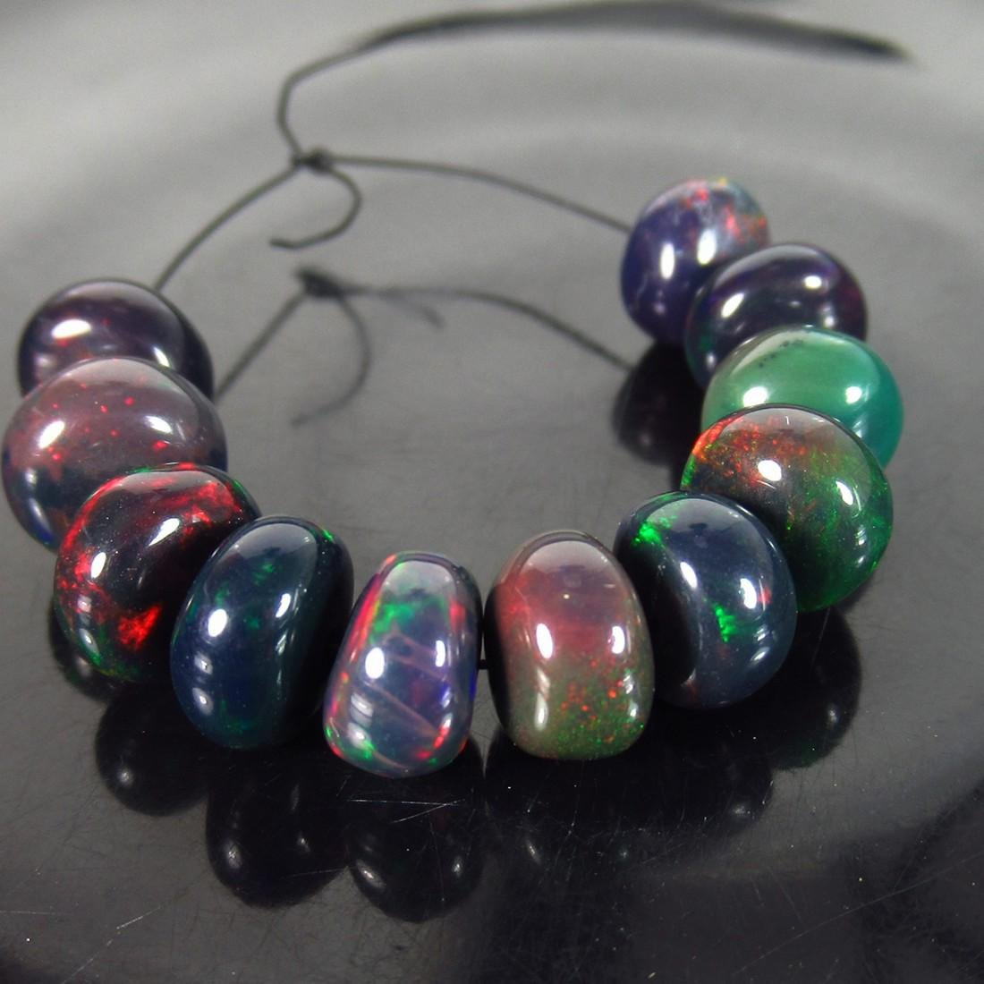 15.18 Ct Genuine 11 Drilled Round Fire Black Opal Beads