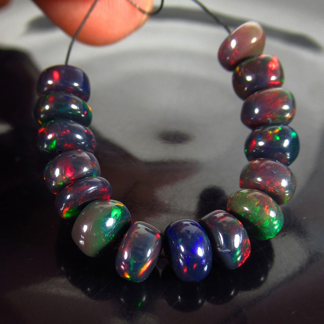 15.67 Ct Genuine 15 Drilled Round Fire Black Opal Beads
