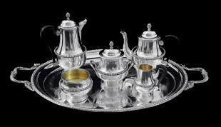 AUCOC 6pc FRENCH LOUIS XVI 950 STERLING SILVER TEA SET