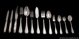 FRENCH 242pc. ANTIQUE STERLING SILVER FLATWARE SET,