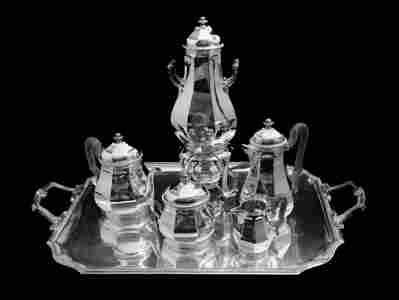 TETARD 6pc ORIGINAL FRENCH ART DECO STERLING SILVER TEA