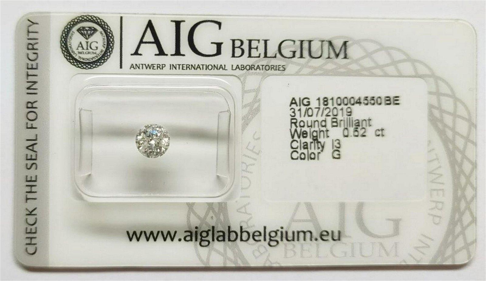 Round Brilliant Diamond total 0.52 ct Color G Clarity