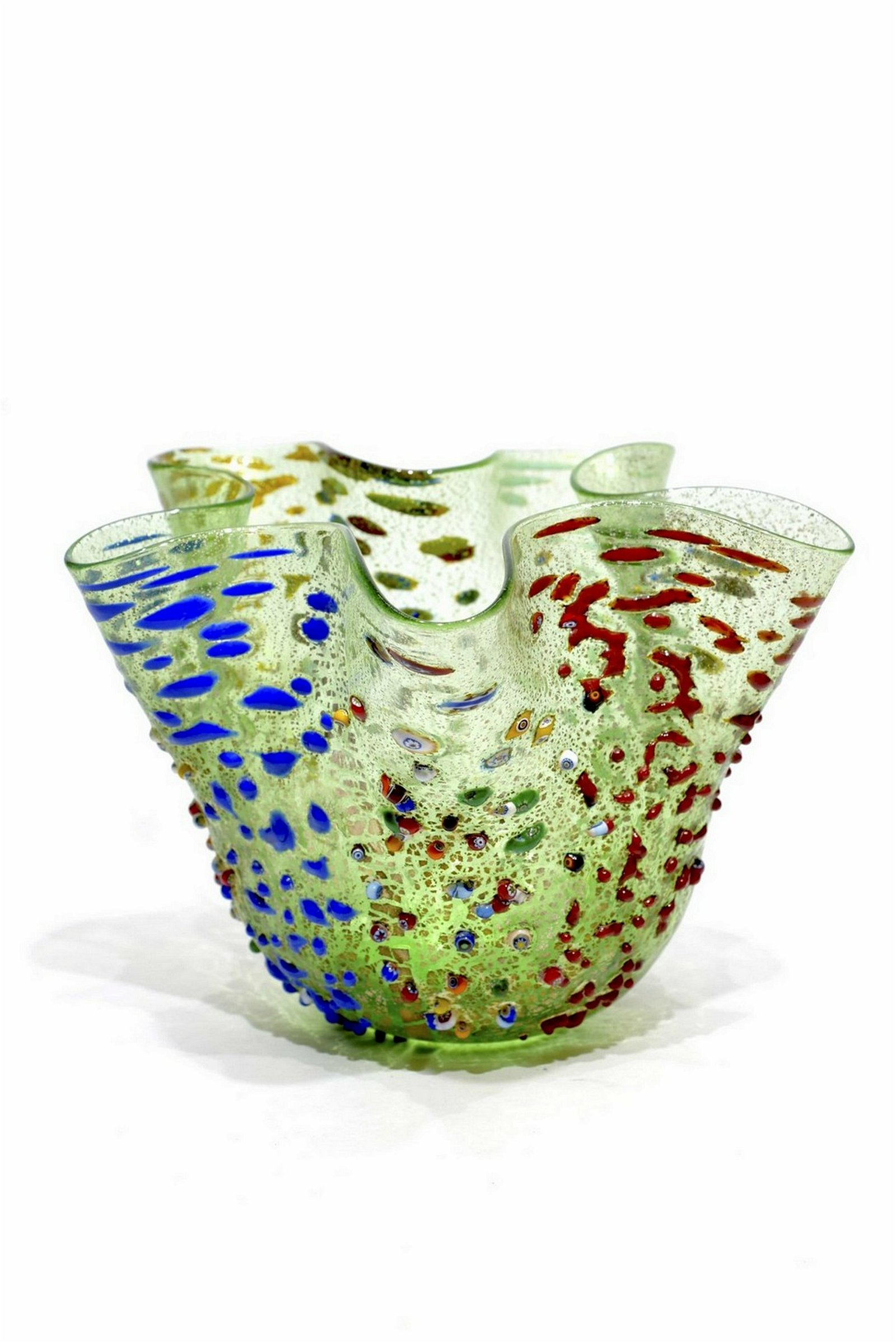 Murano glass relief murrine vase fazzoletto
