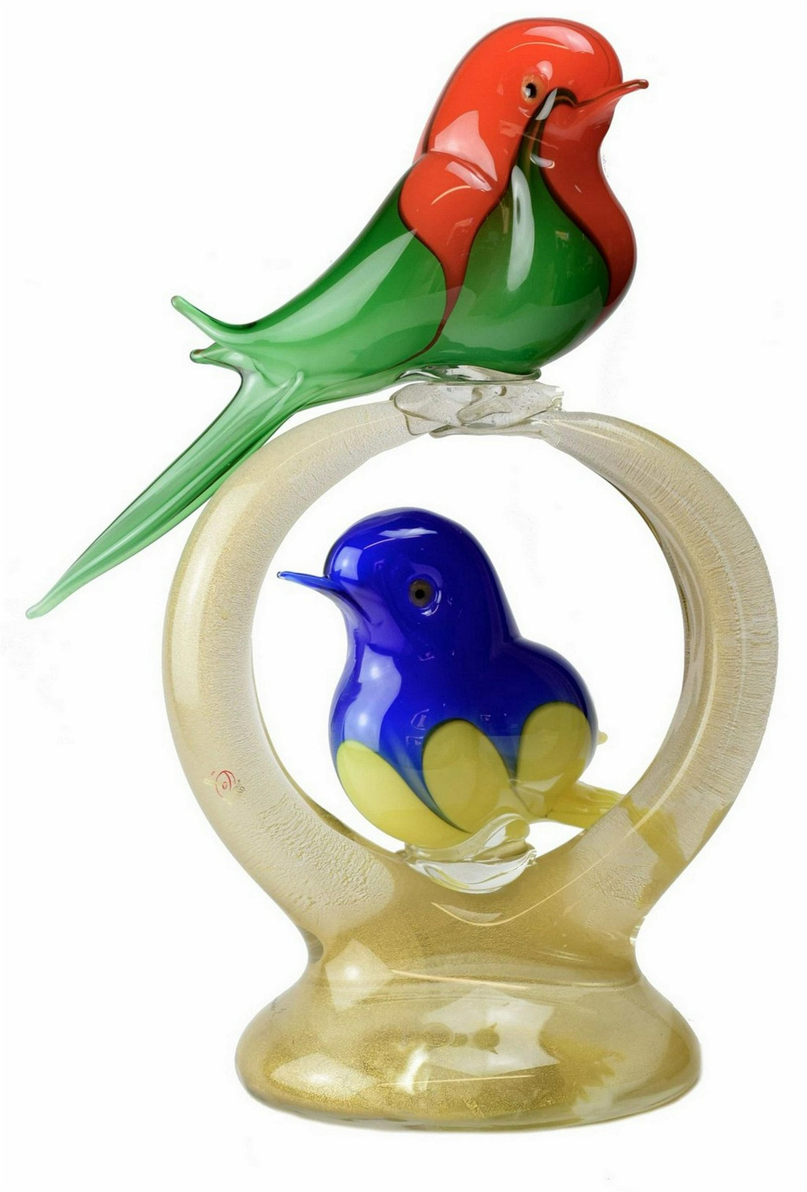 "Murano glass Sculpture "" Parrots"" Signed"