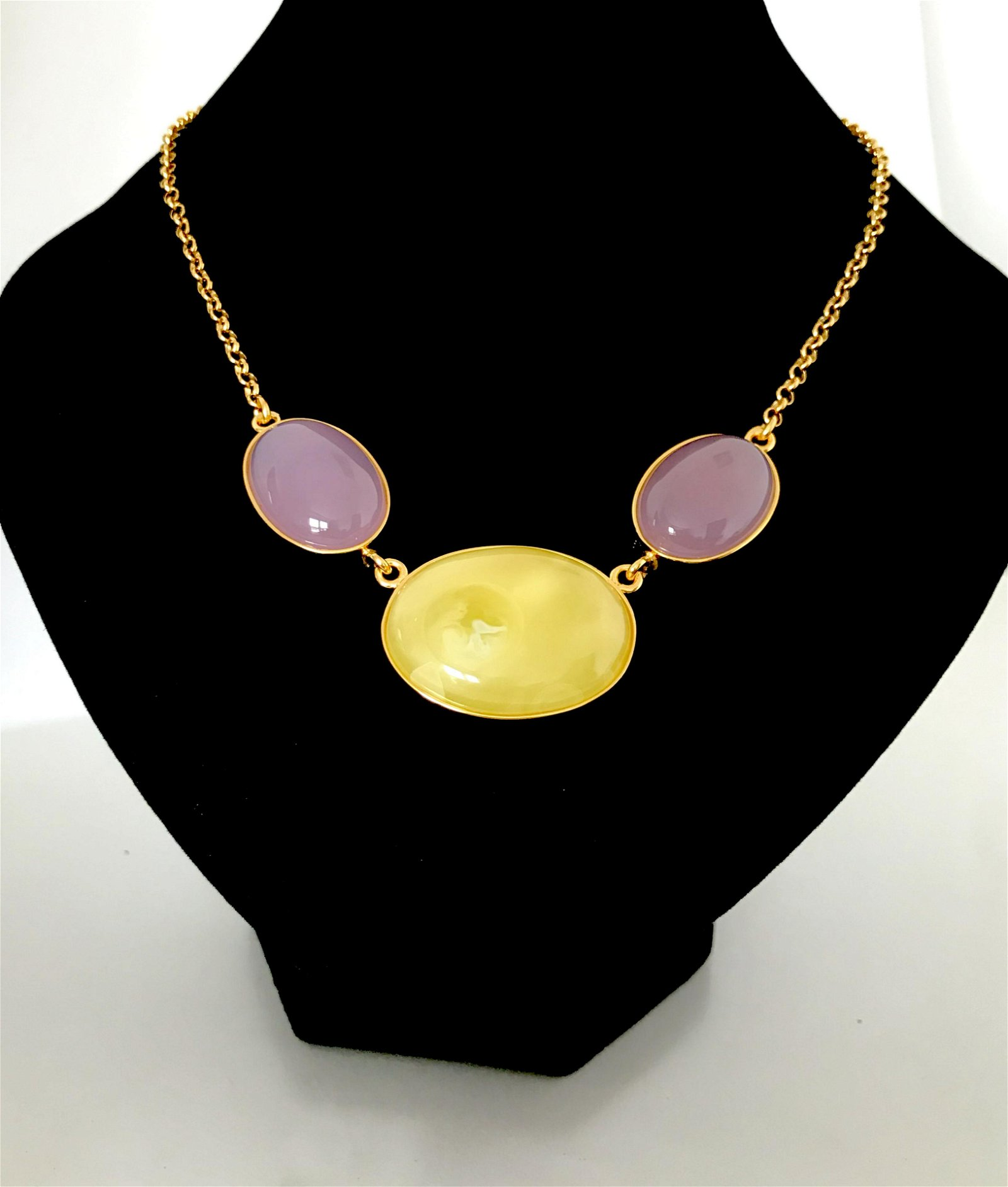 Necklace Goldplated Silver & Baltic amber, Rose quartz