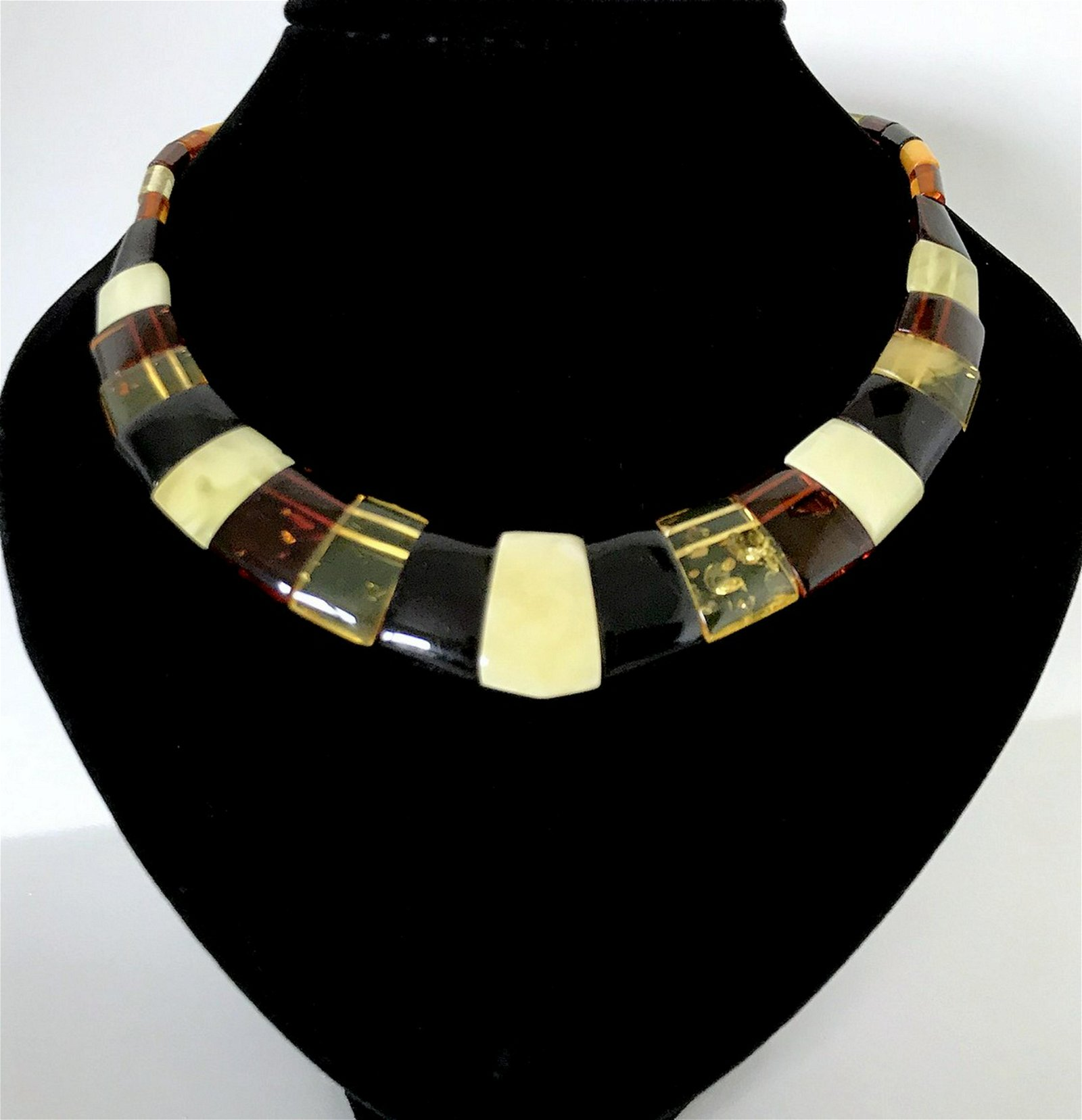 Cleopatra's style flat cut amber necklace