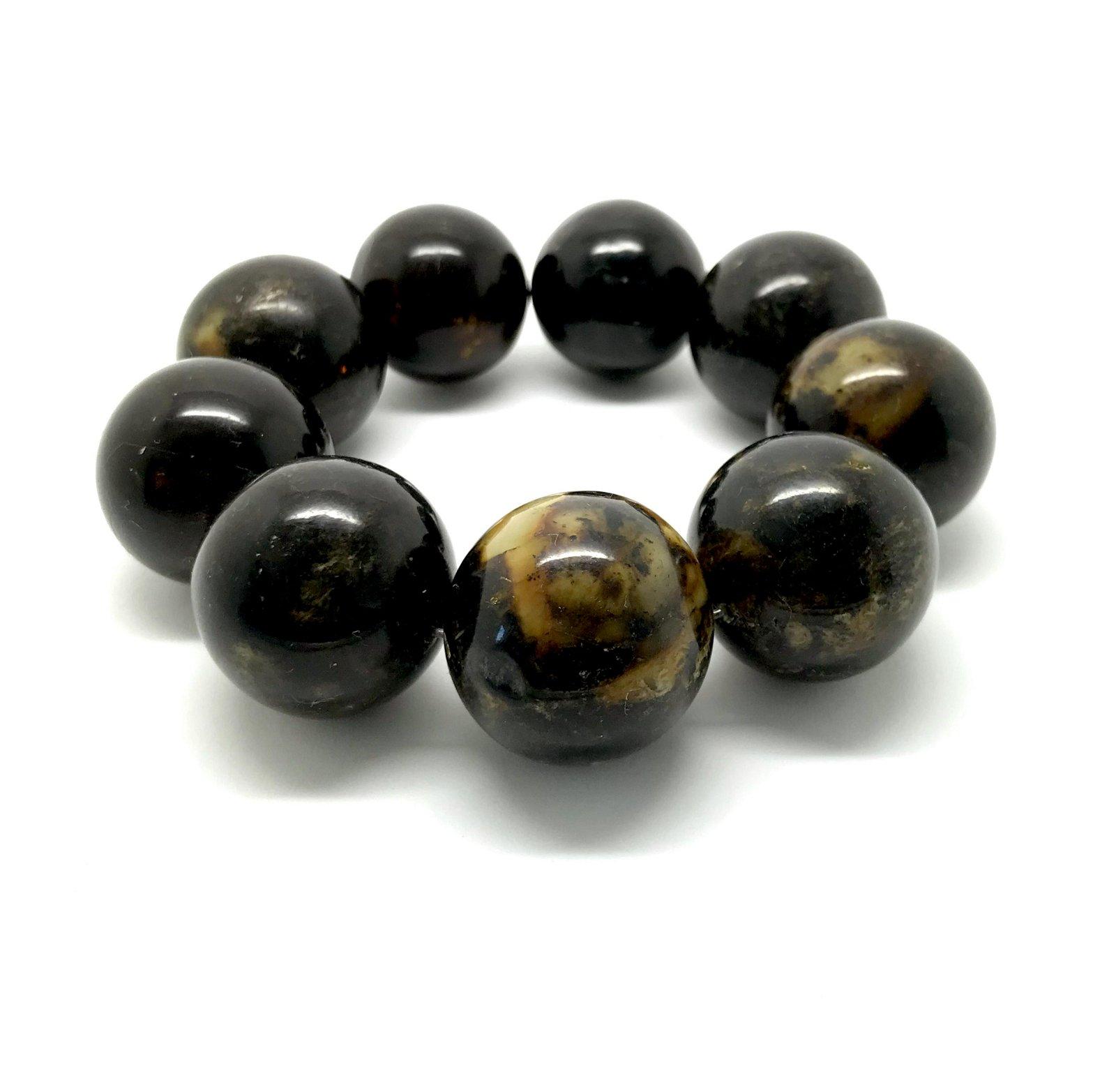 Extraordinar Baltic amber bracelet 69.3gr marble black