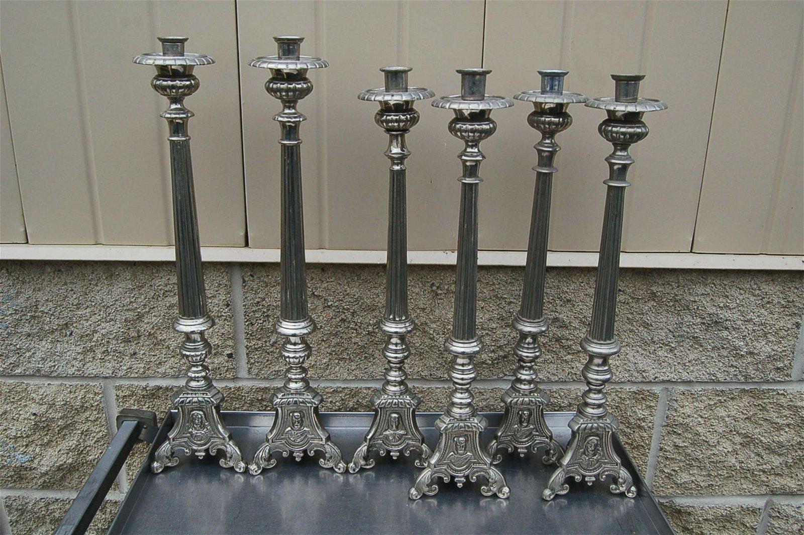 Set of 6 Old Vintage French Candlesticks + (Set #1046)