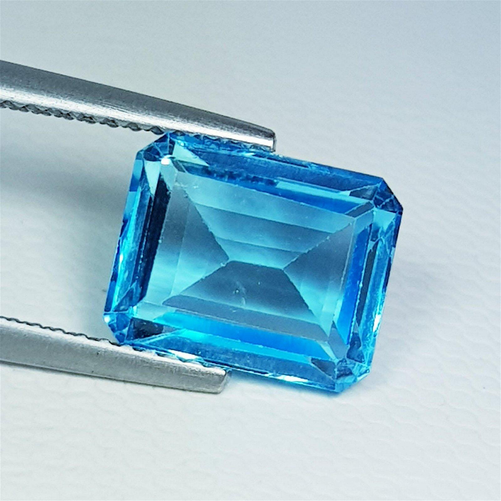 Natural Blue Topaz Emerald Cut 4.60 ct