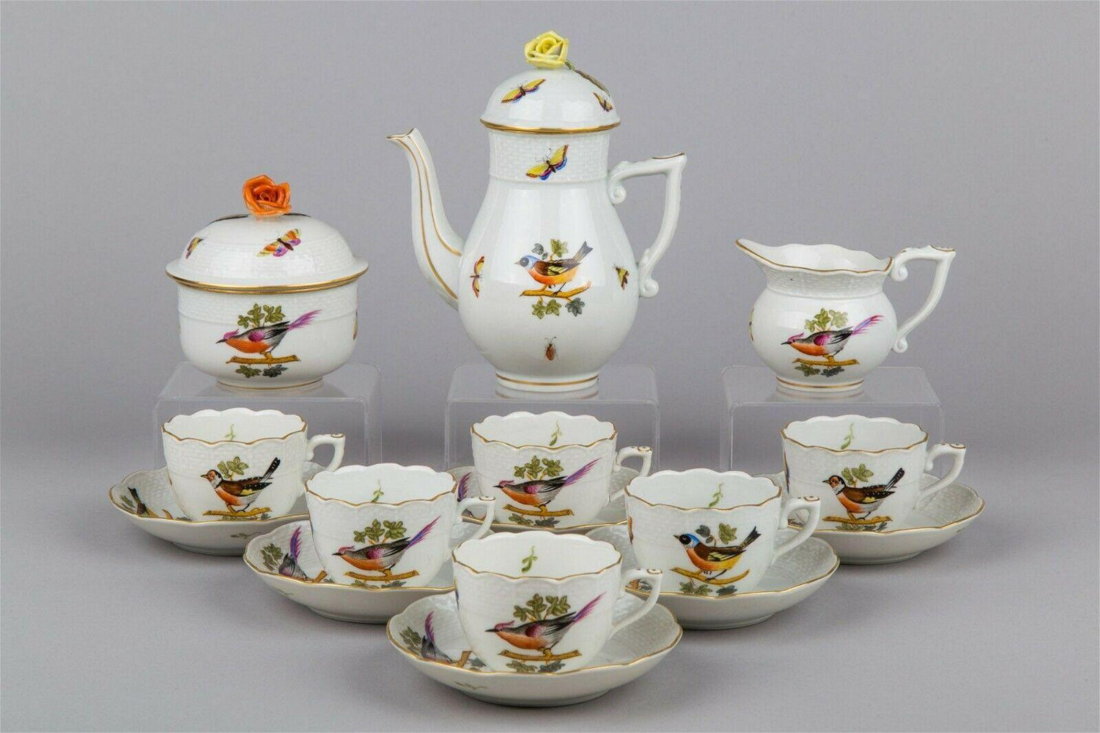 Herend Special Rothschild Bird Coffee Mocha Set for Six