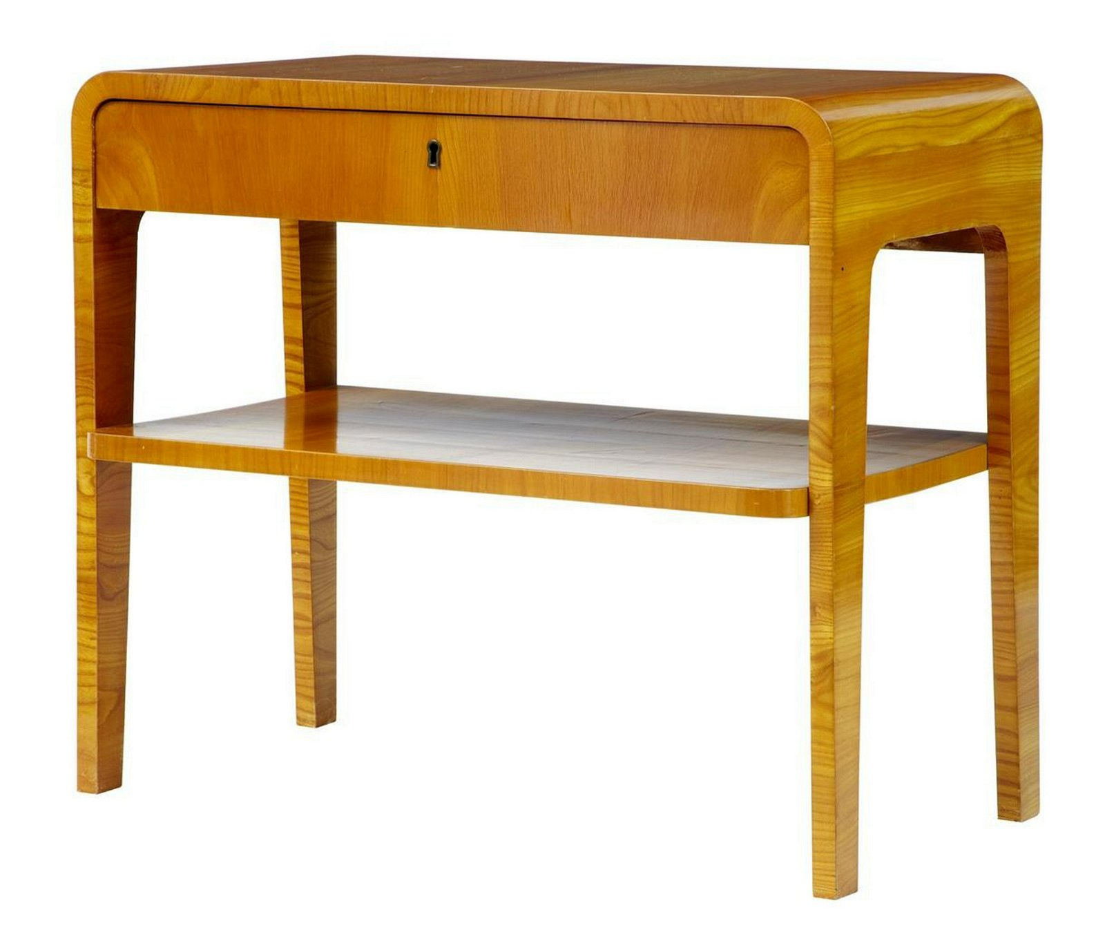 20TH CENTURY LATER ART DECO BIRCH BEDSIDE OCCASIONAL