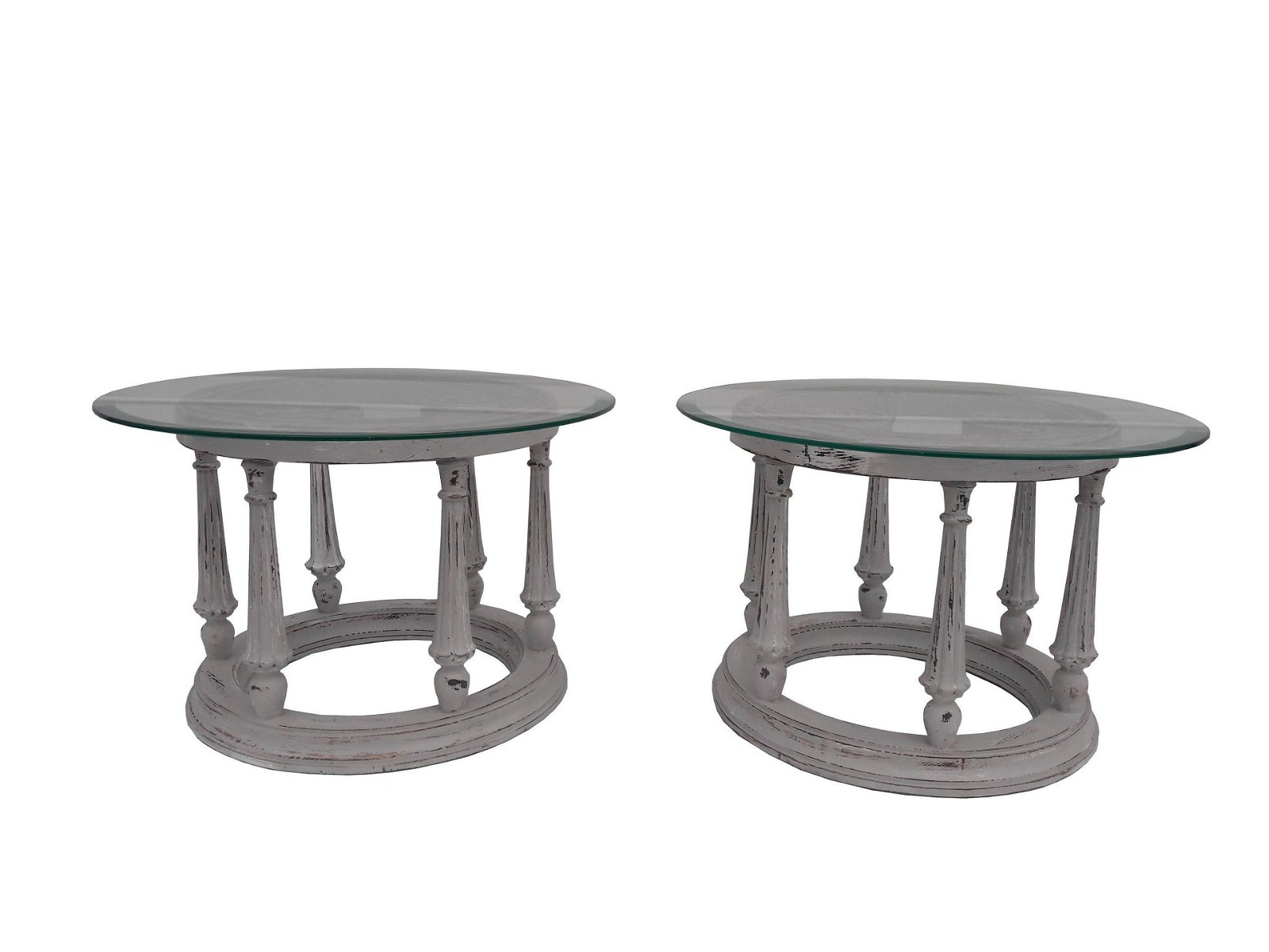 Pair of French Provincial Carved Side Tables Vintage