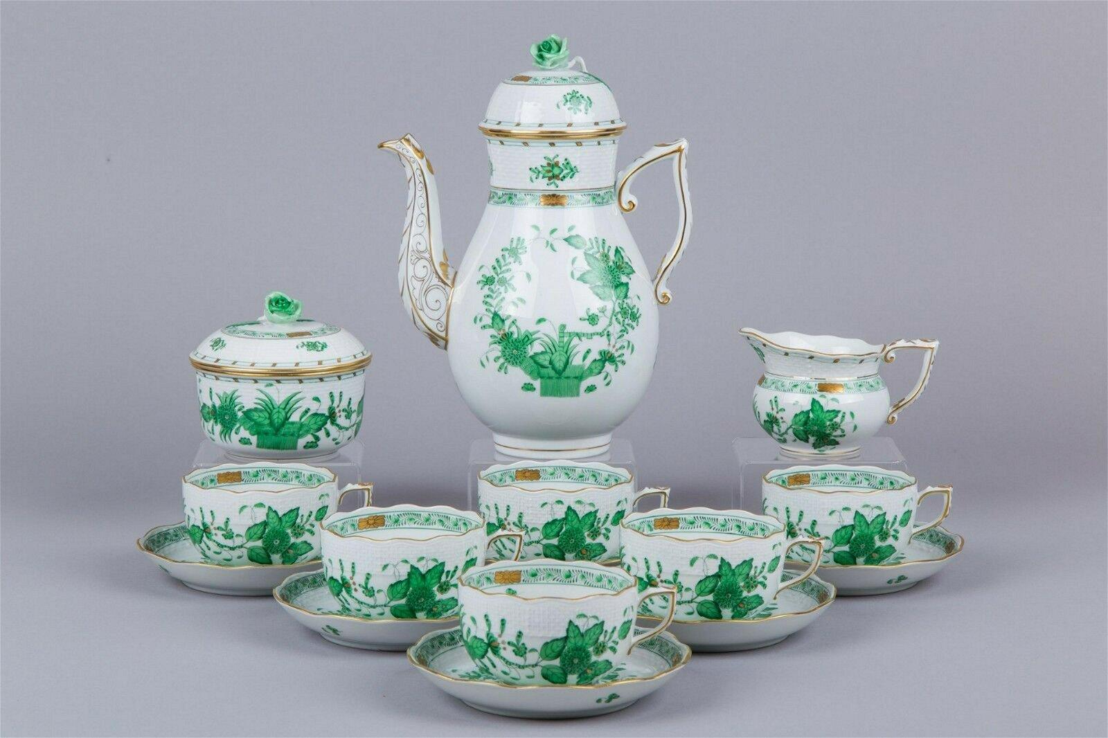 Herend Indian Basket Green Tea Set for Six People, 17