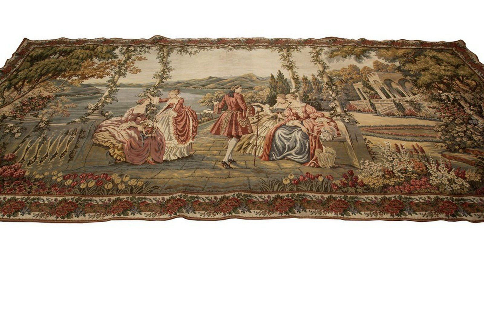 Vintage French Aubusson Tapestry Scenery Beige 5'x11'