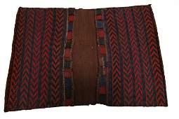 Antique Persian Saddlebag Rug Hand woven Carpet Red 3'4