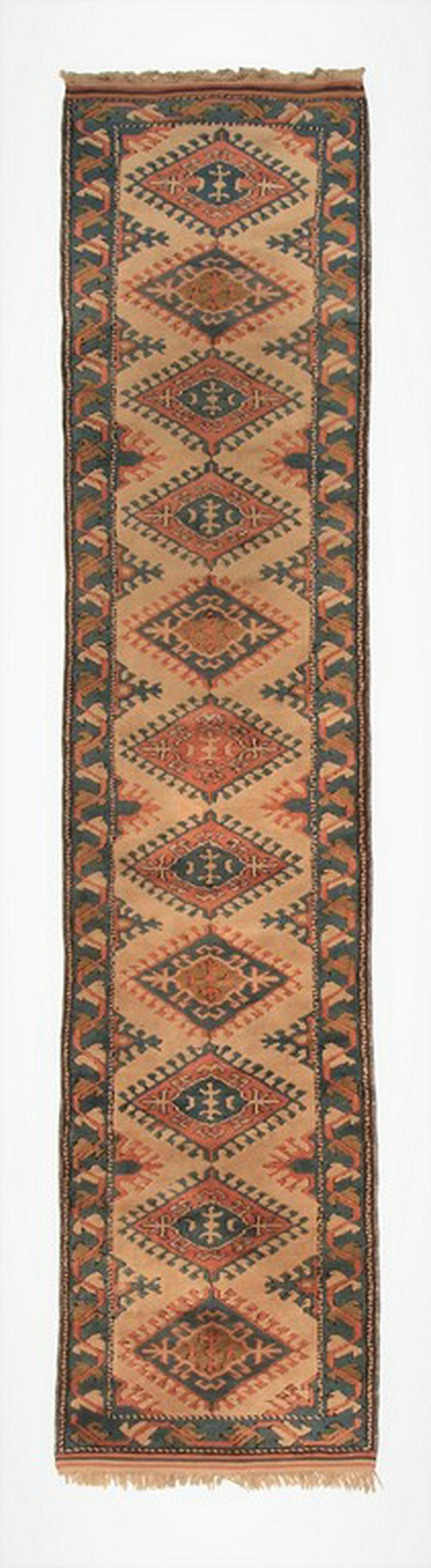 Vintage Turkish Oushak Runner Rug Geometric Carpet