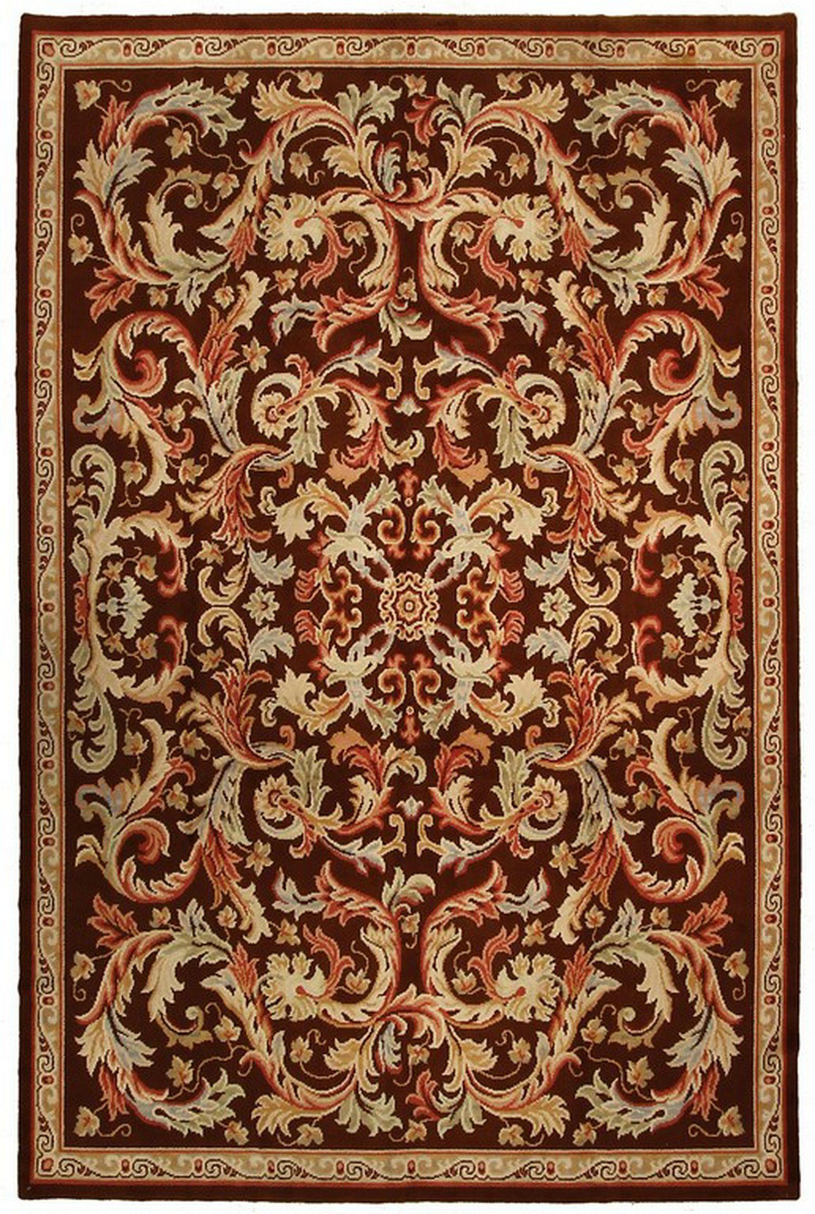 Antique French Savonnerie Rug Hand Knotted Carpet Brown