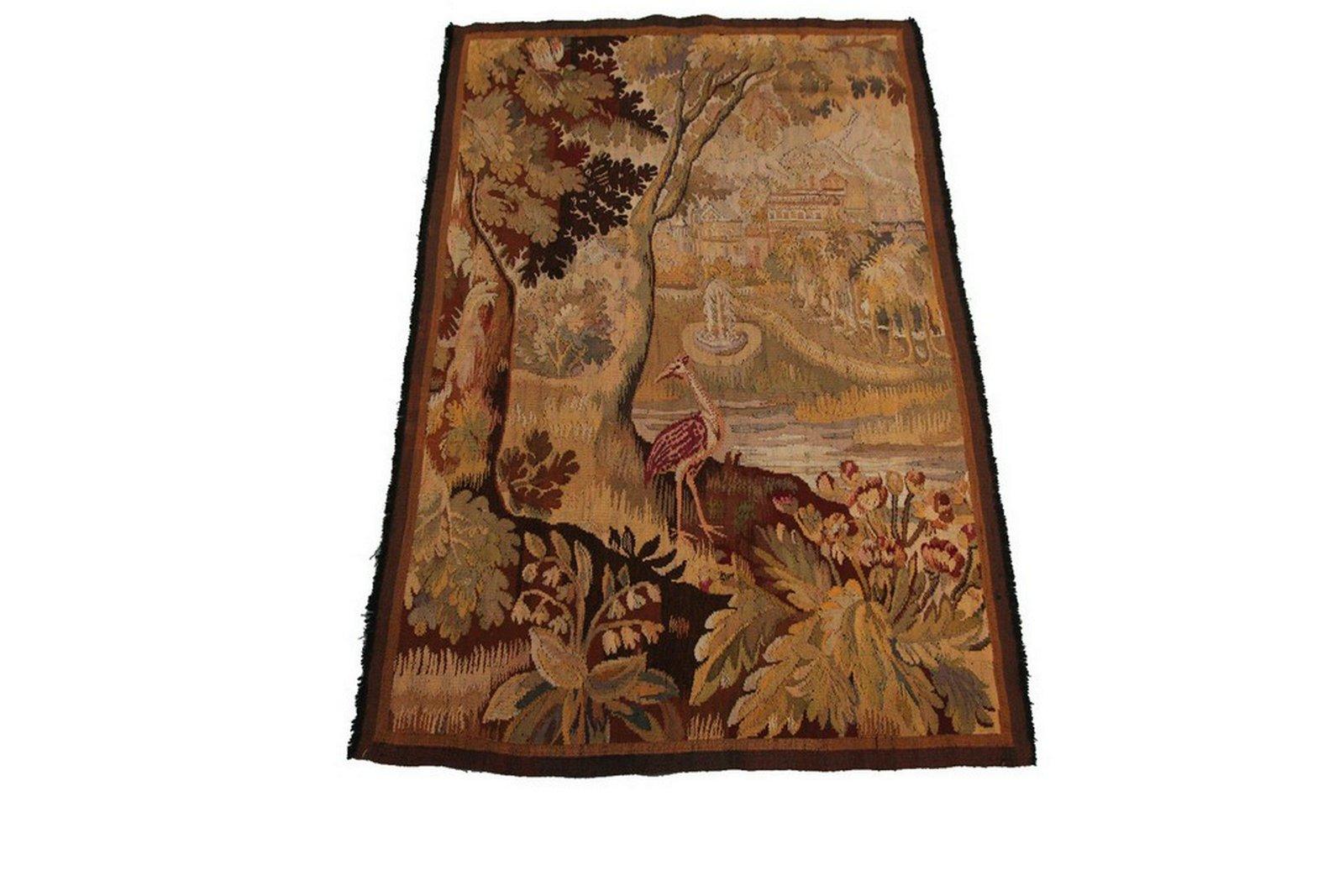 Antique French Tapestry Verdure Birds Scenery
