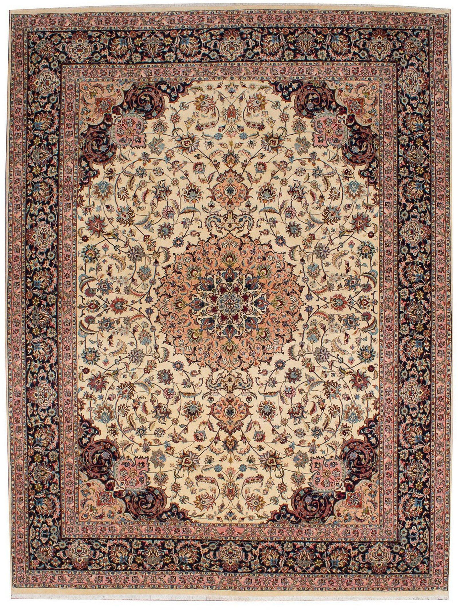 Hand-knotted Tabriz 50L Cream Wool/Silk Rug