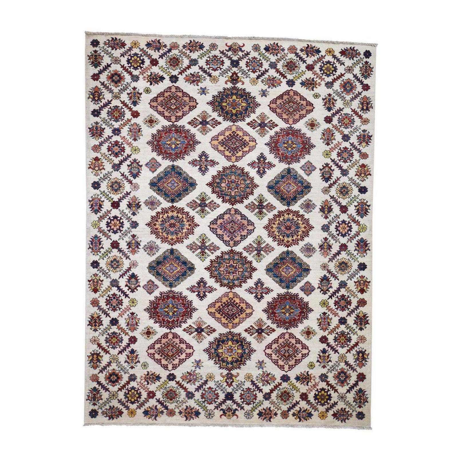 Super Kazak Pure Wool Geometric Design Hand-Knotted