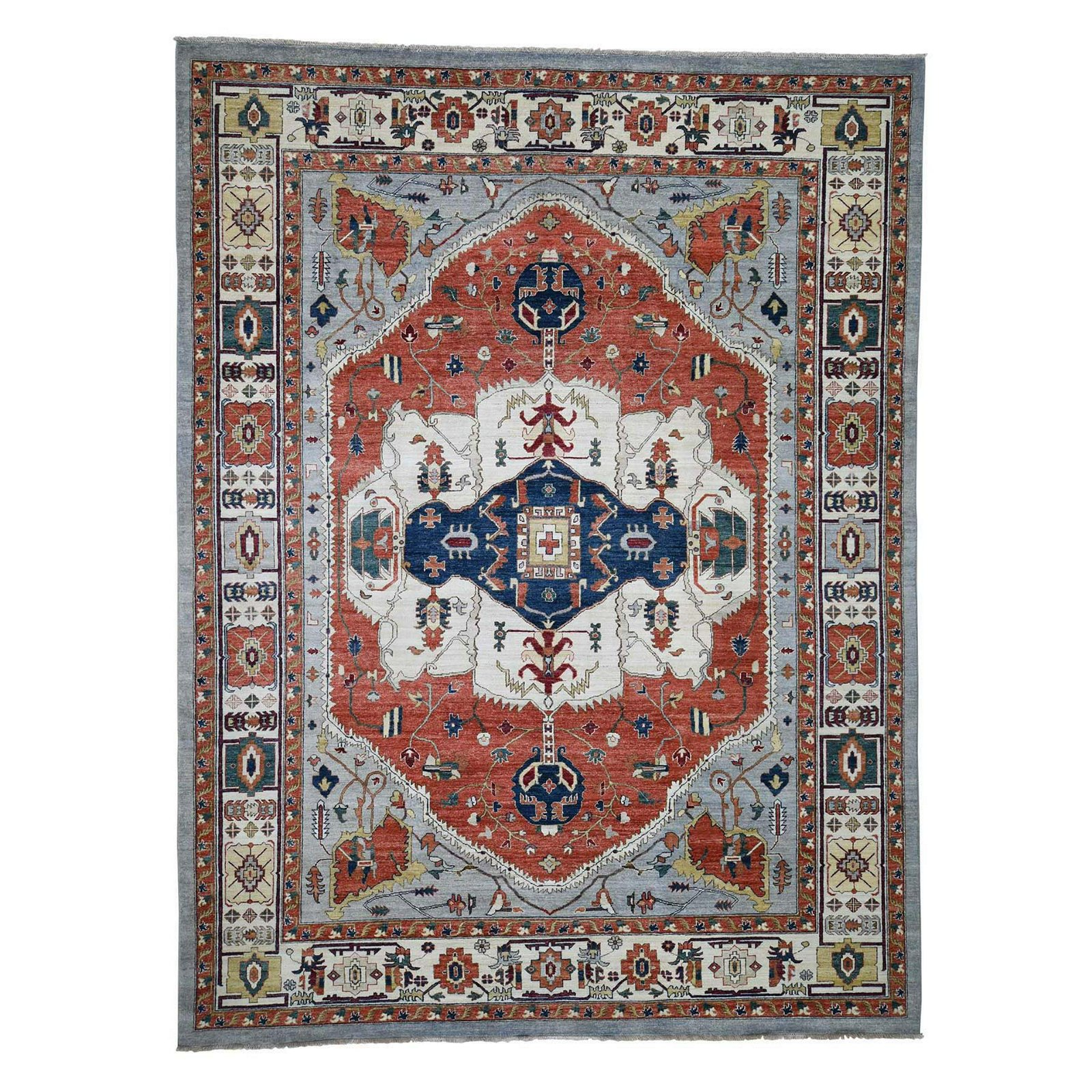 Peshawar With Serapi Design Hand-Knotted Pure Wool