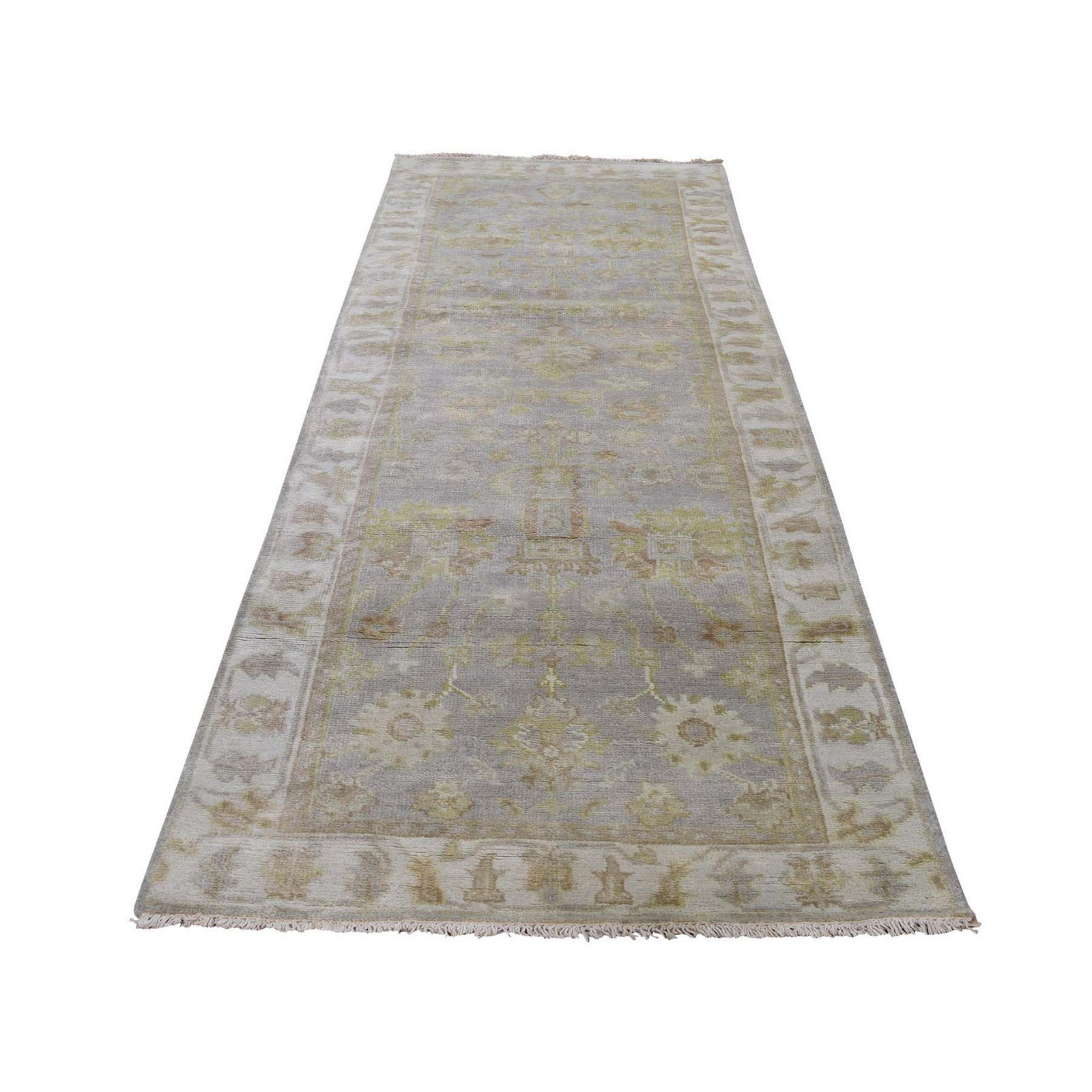 Indo Oushak Pure Wool Hand-Knotted Runner Oriental Rug