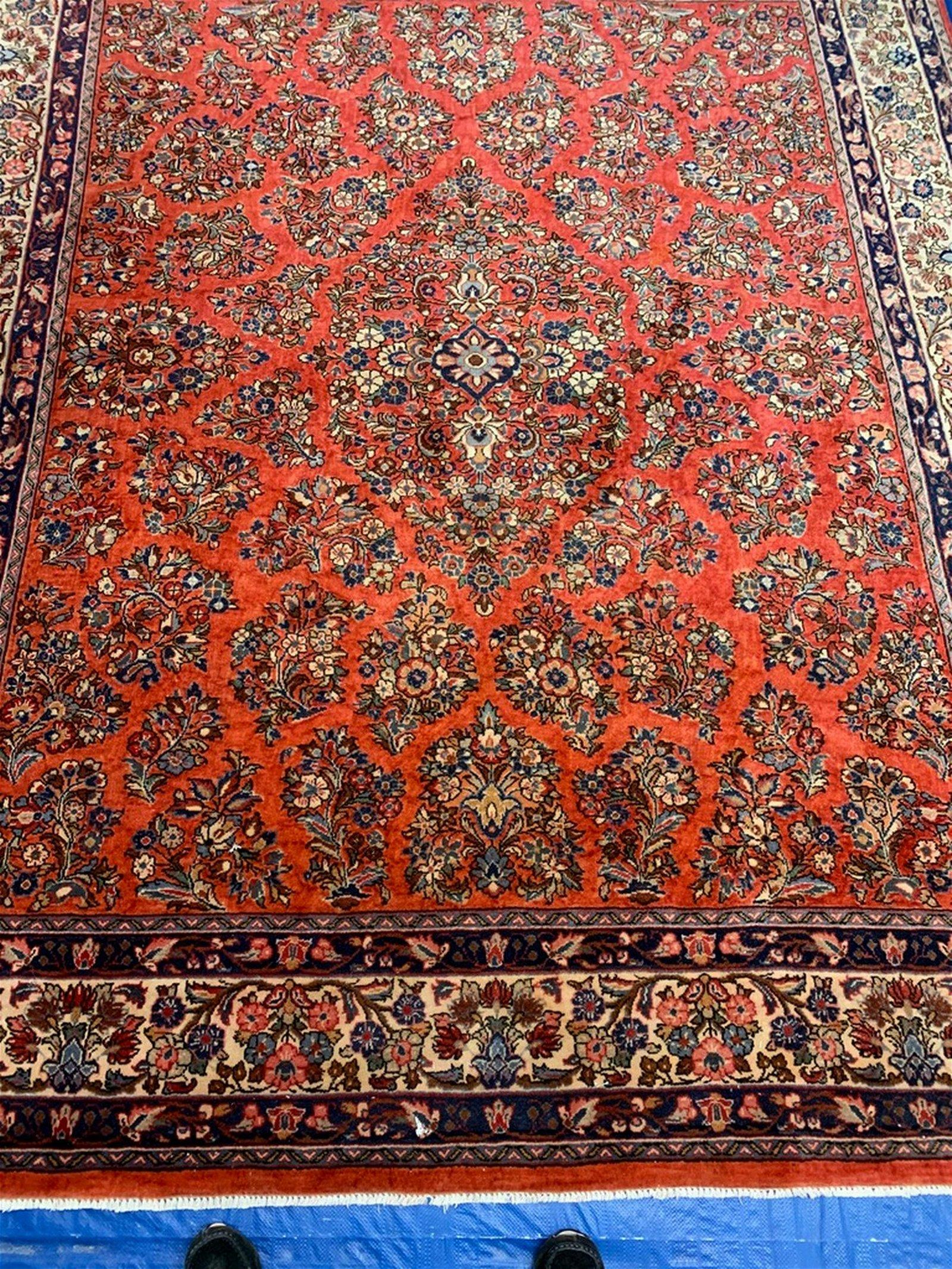 Vintage Hand Woven Persian Rug Sarouk 9 2x7 1